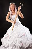 picture of ax  - beautiful bride ax in hand isolated on black background - JPG