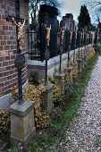 picture of eminent  - Cemetery in Prague Vysehrad with line of crosses - JPG