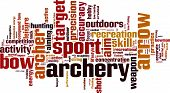 picture of fletching  - Archery word cloud concept - JPG