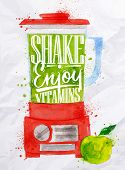 foto of blender  - Poster with red blender with lettering shake enjoy vitamins watercolor painted on crumpled paper - JPG