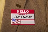 stock photo of gun shop  - My name is gun owner and I like it - JPG
