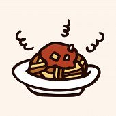 image of high calorie foods  - Fast Food Spaghetti Flat Icon Elements - JPG