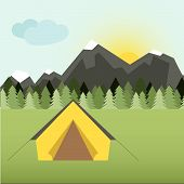 stock photo of tent  - Graphical camping illustration made in flat style - JPG