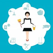 image of housekeeper  - Busy housekeeper simultaneously doing many tasks around the house - JPG