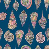 image of aquatic animals  - Perfect vintage vector seamless pattern with white seashells. Beautiful tropical background design 