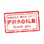foto of fragile  - FRAGILE HANDLE WITH CARE thank you grungy red rubber stamp isolated on white background - JPG
