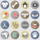 picture of dog-house  - Modern Flat Design Dog Icons Set Vector - JPG