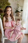pic of pink eyes  - Young beautiful woman and mother - JPG