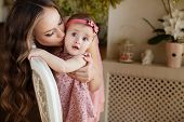 image of pink eyes  - Young beautiful woman and mother - JPG