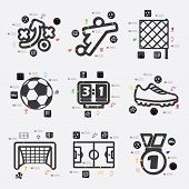 stock photo of offside  - football beautiful line infographic - JPG