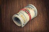 stock photo of 100 dollars dollar bill american paper money cash stack  - Stack of one hundred dollar bills close up - JPG