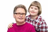 stock photo of granddaughters  - Portrait of grandmother and granddaughter together isolated on white background - JPG