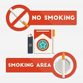 foto of cigarette lighter  - No smoking and smoking area signs with cigarettes and lighter for your design - JPG