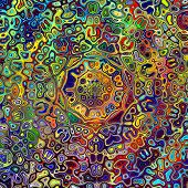 picture of green-blue  - Colorful psychedelic mandala pattern - JPG