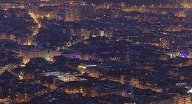 pic of nightfall  - Nightfall in Bilbao Bizkaia Basque Country Spain - JPG