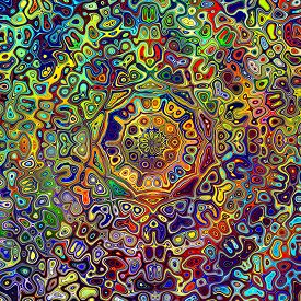 image of uniqueness  - Colorful psychedelic mandala pattern - JPG
