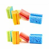 image of foreshortening  - Colorful kitchen sponge composition isolated over white background - JPG