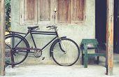 pic of bicycle gear  - Vintage bicycle in coffee house retro instagram effect - JPG