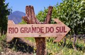 stock photo of gaucho  - Rio Grande do Sul wooden sign with vineyard background - JPG