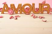pic of amour  - Word Amour meaning Love in French language as a composition of wooden block letters covered with the dried flower potpourri leaves against the pink background - JPG