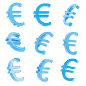 picture of foreshortening  - Euro blue currency sign render isolated over white background - JPG