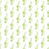 picture of treble clef  - Seamless pattern with repeating green colored treble clef decorated with floral elements isolated on white background - JPG