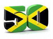 stock photo of jamaican  - Number 50 made with Jamaican flag the concept of the fiftieth anniversary of the independence of Jamaica - JPG