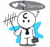 image of antenna  - Satellite service man or Mechanic changing a satellite dish antenna for better reception symbol design so cute have tool bag - JPG