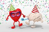 foto of blowers  - heart and brain with arms legs party cap blowers mask and carnival decorations 3d illustration - JPG