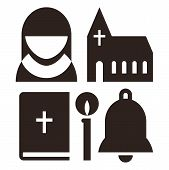 stock photo of church  - Nun church bible candle and bell icons - JPG