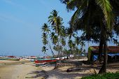 stock photo of beach hut  - The scenic view on the Indian beach - JPG