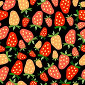 picture of kawaii  - Hand drawn seamless strawberry pattern - JPG