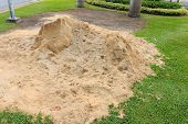 image of sand gravel  - Pile of sand in public outdoor park - JPG