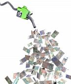 pic of fuel economy  - fuel nozzle with pound banknotes 3d illustration - JPG