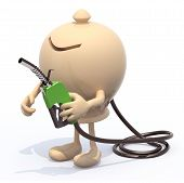 foto of fuel economy  - ceramic moneybox with arms legs and fuel pump in hand 3d illustration - JPG