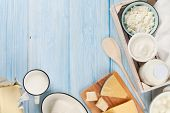image of milk products  - Dairy products on wooden table - JPG