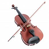 stock photo of musical instrument string  - Violin and bow isolated on white background - JPG