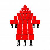 image of compose  - Red arrow up shape composed of boards holding by men isolated on white background - JPG