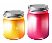 pic of jar jelly  - Glass jar with jam vector bright isolated illustration of two jars with pink raspberry and yellow jam - JPG