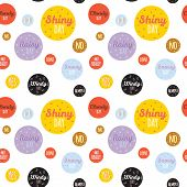 stock photo of windy weather  - Unusual seamless vector childish pattern with cartoon and funny smiley weather icons - JPG