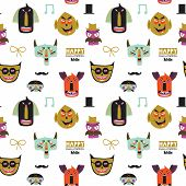 image of evil  - Bright trick or treat seamless pattern in vector - JPG