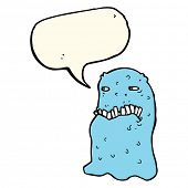 foto of grossed out  - cartoon gross ghost with speech bubble - JPG