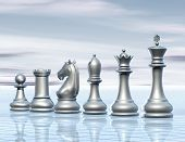 picture of surreal  - light abstract surreal background with chess figurines concept illustration - JPG