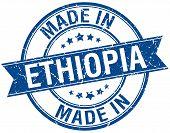 picture of ethiopia  - made in Ethiopia blue round vintage stamp - JPG