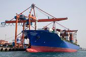 stock photo of loading dock  - Container Ship is loading in a port - JPG