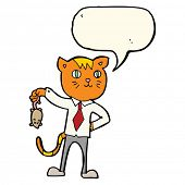 pic of dead mouse  - cartoon business cat with dead mouse with speech bubble - JPG