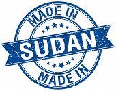 image of sudan  - made in Sudan blue round vintage stamp - JPG