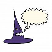 stock photo of crazy hat  - cartoon spooky witches hat with speech bubble - JPG