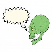 picture of spooky  - spooky skull illustration with speech bubble - JPG