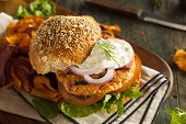 picture of burger  - Homemade Organic Salmon Burger with Tartar Sauce - JPG